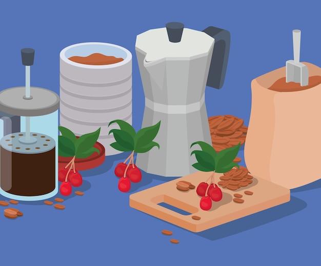 Café, prensa francesa, jarra, moka, pote, y, bolsa, diseño, de, bebida, cafeína, desayuno, y, bebida, tema