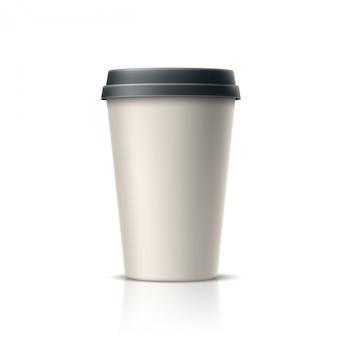 Café realista, té en vaso de papel desechable