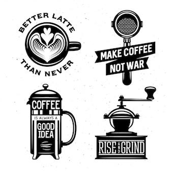 Café relacionados vintage ilustración vectorial con citas.