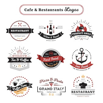 Cafe y restaurante logotipos de diseño vintage con cubiertos y comidas.