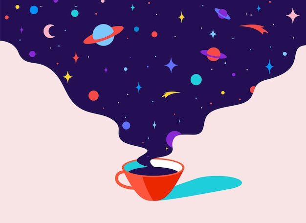 Café. taza de café con sueños del universo, planeta, estrellas, cosmos