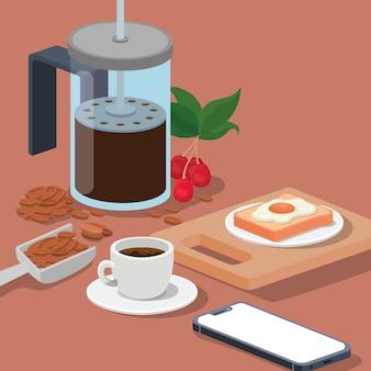 Café taza de prensa francesa smartphone frijoles de huevo bayas y hojas de diseño de bebida con cafeína desayuno y tema de bebidas.