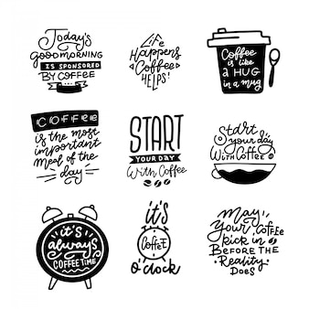 Café temático dibujado a mano caligrafía citas y formas ilustraciones conjunto.