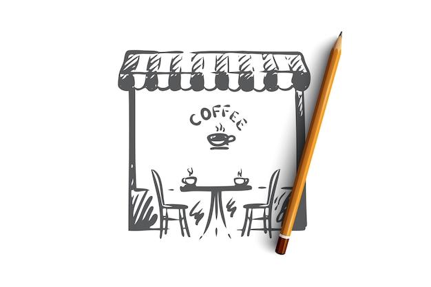 Café, tienda, café, taza, concepto de bebida. símbolo dibujado mano del bosquejo del concepto de cafetería de la ciudad. ilustración.