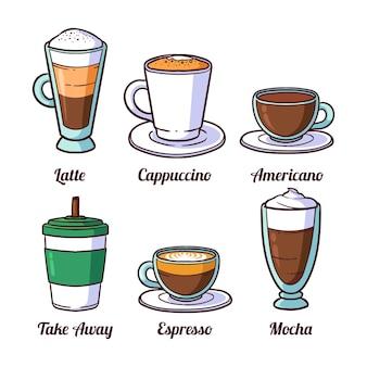 Café en vasos de vidrio y café para llevar
