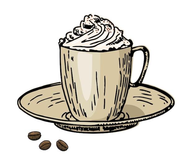 Café vienés café con crema en una taza y granos de café caffe latte tapón de crema batida