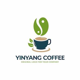 Café yinyang, té, colección de diseño de logotipo de bebida saludable.