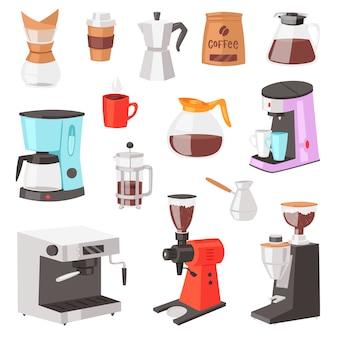Cafetera cafetera y máquina de café para bebidas espresso con cafeína en cafe ilustración conjunto de equipos profesionales haciendo cappuccino bebida aislado sobre fondo blanco.