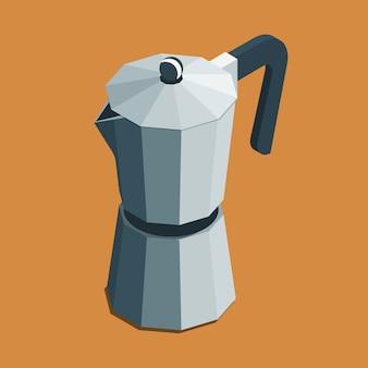 Cafetera geyser moka olla isométrica