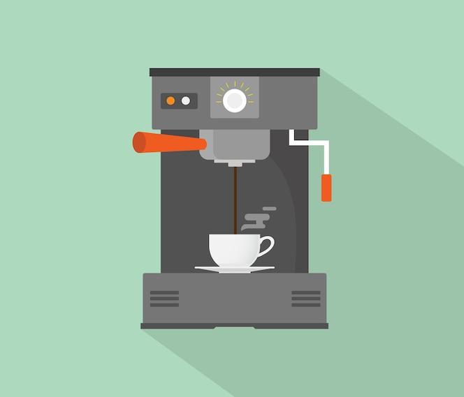 Cafetera máquina plana con larga sombra vector