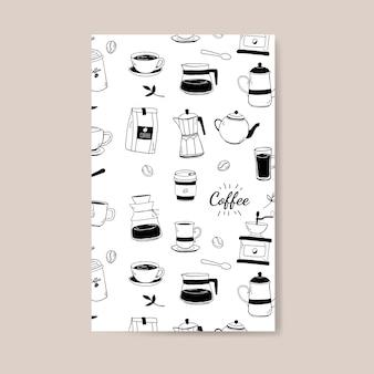 Cafetería y café con dibujos vectoriales de fondo