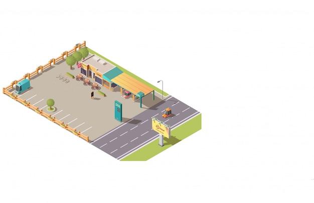 Cafetería en el camino o construcción de café en carretera isométrica