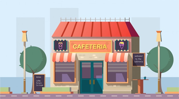 Cafetería en la carretera o edificio de cafetería con menú