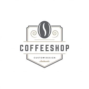 Cafetería emblema plantilla frijol silueta