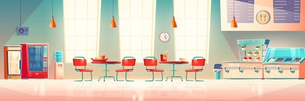 Cafetería escolar, comedor universitario, comedor vacío