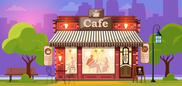 Cafetería. fachada de una cafetería o cafetería. calle de la ciudad.