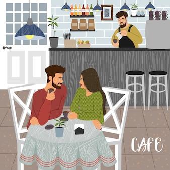 Cafetería con hombre y mujer y barista
