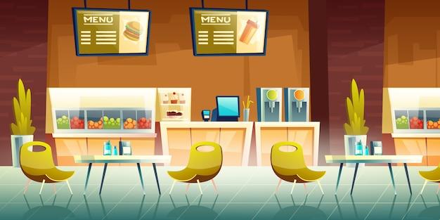 Cafetería, interior del patio de comidas del centro comercial