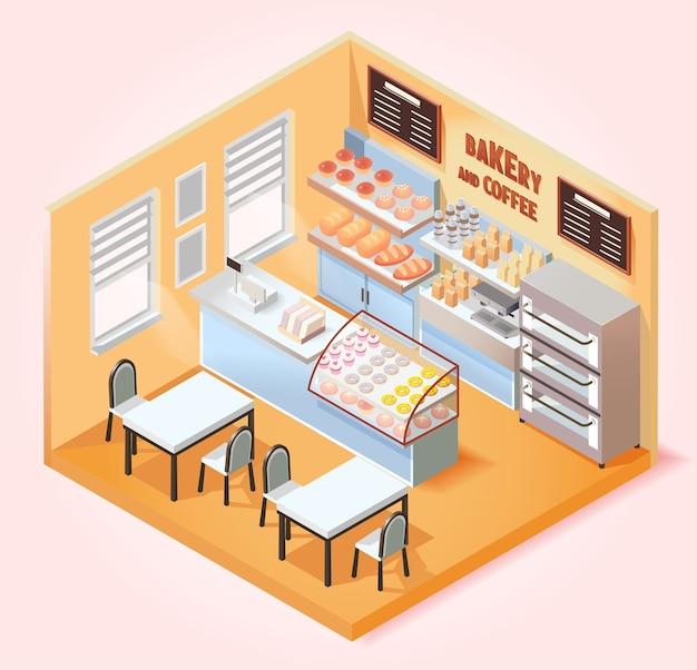 Cafetería isométrica y panadería.