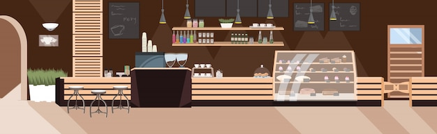 Cafetería moderna restaurante vacío para nadie con muebles cafetería interior plano horizontal
