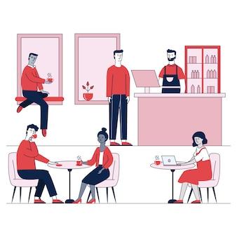 Cafetería con personajes jóvenes cenando en la cafetería.