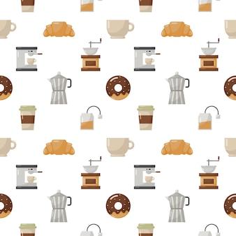 Cafetería y postre de patrones sin fisuras aislar en blanco