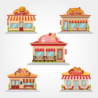 Cafetería tienda y restaurante edificio vector ilustración diseño plano