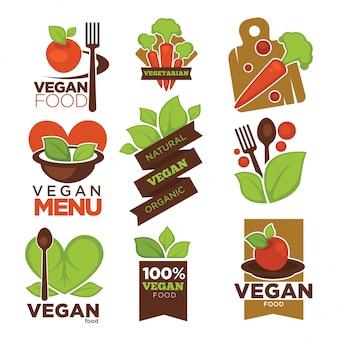 Cafetería vegetariana o iconos de vector de restaurante vegano