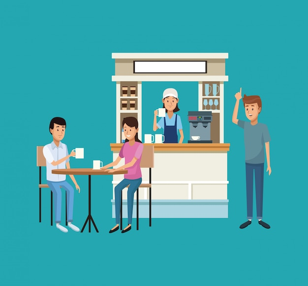 Cafetería y clientes