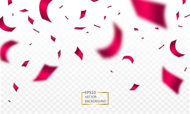 Caída de confeti y cintas rojas aisladas