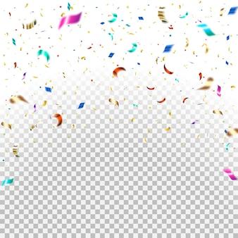 Caída de confeti de colores y oro brillante, destellos.