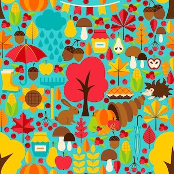 Caída estacional de patrones sin fisuras. fondo de vector. temporada de otoño.
