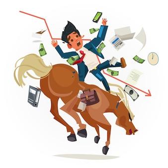 Caída de hombre de negocios de montar a caballo