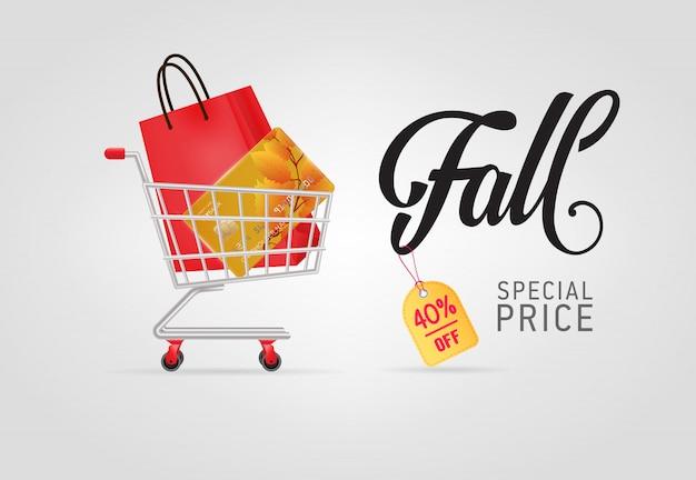 Caída, letras de precio especial con bolsa y tarjeta de crédito.