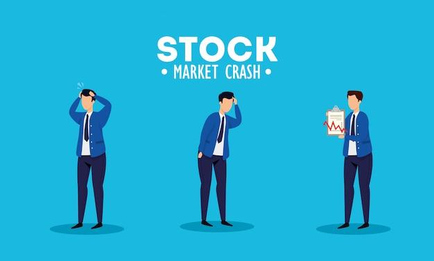 Caída del mercado de valores con empresarios preocupados