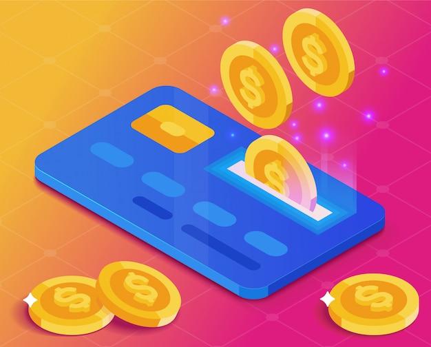 Caída de monedas en la tarjeta bancaria. ingresos monetarios. ganar dinero. estilo isométrico fondo degradado