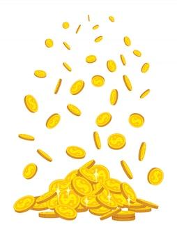 Caída de la montaña de monedas de oro, estilo de dibujos animados plana. montón de monedas de oro. moneda del banco brillante signo volando en el aire
