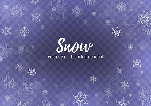 La caída de nieve. copos de nieve cayendo realistas aislados sobre fondo transparente. fuertes nevadas en diferentes formas y formas. lugar para su texto