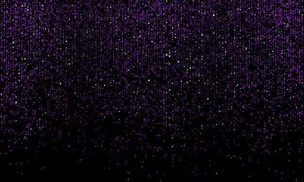 Caída de partículas. confeti de brillo. polvo brillante sobre fondo negro. ilustración.