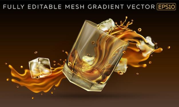 Caída de vidrio con un poco de whisky y cubitos de hielo.