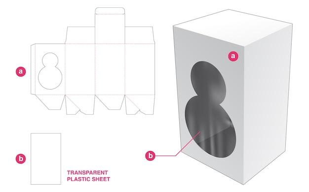 Caja y 2 ventanas redondas con plantilla troquelada de lámina de plástico transparente