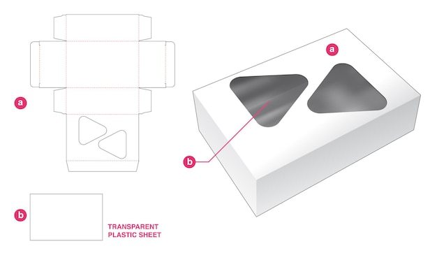 Caja y 2 ventanas triangulares con plantilla troquelada de lámina de plástico transparente