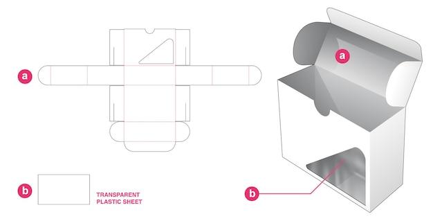 Caja abatible y ventana triangular con plantilla troquelada de hoja de plástico transparente