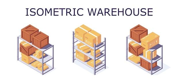 Caja de almacén isométrica estante de paletas y estantería de estanterías ilustración