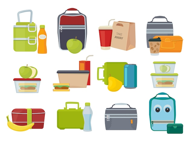 Caja de almuerzo. frutas y verduras para niños, cenas, almuerzos, bebidas y alimentos, paquetes de productos de sándwich de jugo de plátano. mochila de ilustración con almuerzo, sándwich y bebida