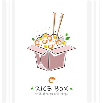 Caja de arroz con camarones y mango. comida sana . ilustración con poke bowl para llevar. entrega de comida hawaiana