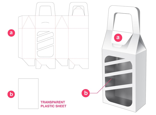 Caja con asa abatible y ventana rectangular redonda con plantilla troquelada de hoja de plástico transparente