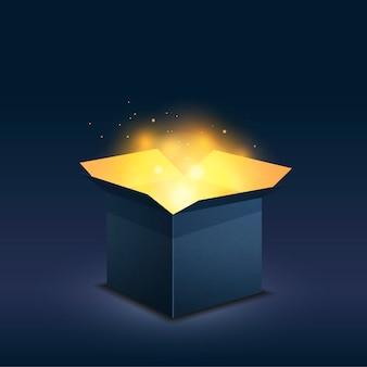 Caja azul con luz dorada mágica sobre fondo oscuro