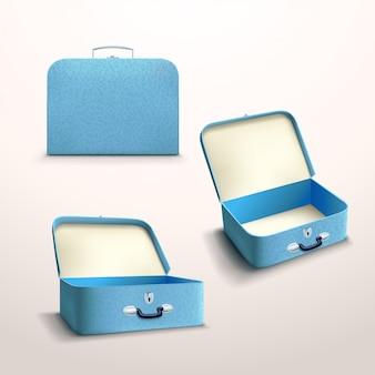 Caja azul sobre blanco