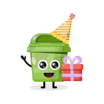 Caja de basura de cumpleaños de logotipo de personaje de mascota